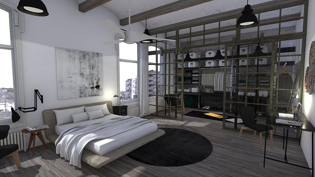 Dormitorio estilo industrial blophome Bano estilo industrial