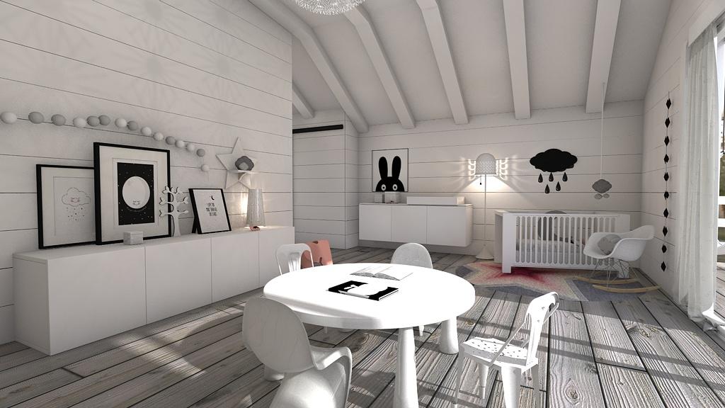 Dormitorio infantil n rdico en blanco y negro by ona blophome for Dormitorio infantil blanco
